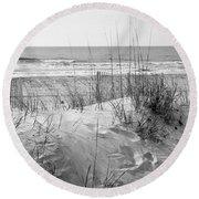Dune - Black And White Round Beach Towel