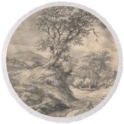 Dune Landscape With Oak Tree Round Beach Towel