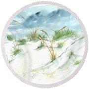 Dunes 3 Seascape Beach Painting Print Round Beach Towel