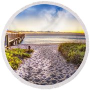 Dunes At The Pier Round Beach Towel
