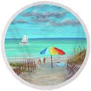 Dunes Beach Colorful Umbrella Round Beach Towel