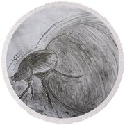 Dung Beetle Round Beach Towel