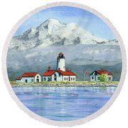 Dungeness Lighthouse With Mount Baker Round Beach Towel