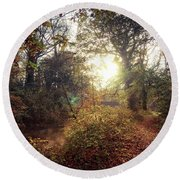 Dunmore Wood - Autumnal Morning Round Beach Towel