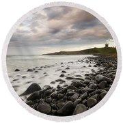 Dunstanburgh Castle Sunset Round Beach Towel