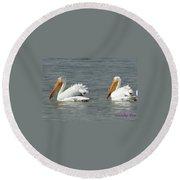 Duo Pelicans Round Beach Towel
