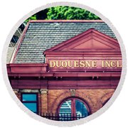 Duquesne Incline Of Pittsburgh Round Beach Towel by Lisa Russo
