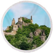 Durnstein Castle And Stone Outcroppings Round Beach Towel