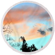 Dusk And Dogs Round Beach Towel