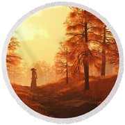 Dusk Approaches In Sleepy Hollow Round Beach Towel