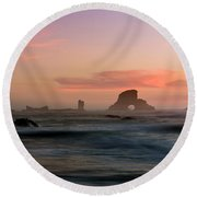 Dusk At Ecola Point Round Beach Towel