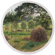 Dusk At Eragny Round Beach Towel by Camille Pissarro