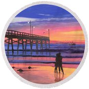 Dusk At The Pier Round Beach Towel