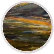 Dusk At The River Round Beach Towel