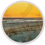 Dusk At The Shore Round Beach Towel
