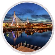 Dusk At The Zakim Bridge Round Beach Towel