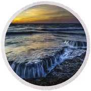 Dusk At Torregorda Beach San Fernando Cadiz Spain Round Beach Towel