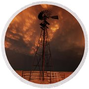 Dusk Down At The Mill Round Beach Towel