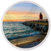 Dusk In Charlevoix Round Beach Towel
