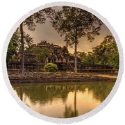 Dusk Light Preah Khan Temple Reflection Round Beach Towel