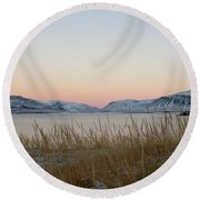 Dusk On Grundarfjordur Round Beach Towel