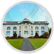 Dusk On Pacific County Historical Courthouse  Round Beach Towel