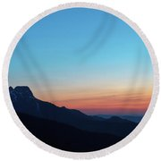 Dusk Over Giewont Peak At Tatry Mountains, Poland Round Beach Towel