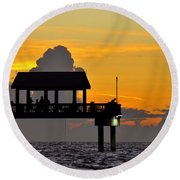 Dusk Over The Gulf Round Beach Towel