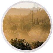Dust Storm In The Desert Round Beach Towel