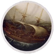 Dutch Battleship In A Storm Round Beach Towel by Hendrick Cornelisz Vroom