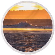 Dutch December Beach 003 Round Beach Towel