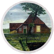 Dutch Farm At Dusk Round Beach Towel
