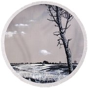 Dutch Heathland Round Beach Towel