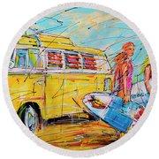 Dutch Holiday, Yellow Surf Bus Round Beach Towel