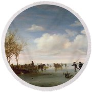 Dutch Landscape With Skaters Round Beach Towel