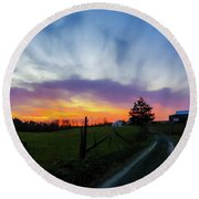 Dutch Lane In Evening Sky Round Beach Towel