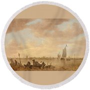 Dutch Seascape With Fishings Boats Round Beach Towel