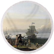 Dutch Ships In The Roads Of Texel Round Beach Towel
