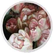 Dutch Tulips Dutch Tile Round Beach Towel
