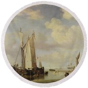 Dutch Vessels Inshore And Men Bathing Round Beach Towel