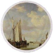 Dutch Vessels Inshore And Men Bathing Round Beach Towel by Willem van de Velde