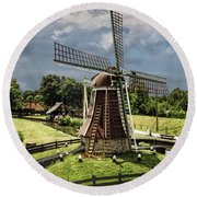 Dutch Windmill Near The Zuider Zee Round Beach Towel