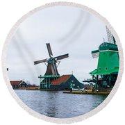 Dutch Windmills 1 Round Beach Towel