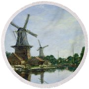 Dutch Windmills Round Beach Towel by Eugene Louis Boudin