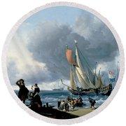 Dutchman Embarking Onto A Yacht Round Beach Towel