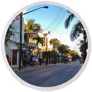 Duval Street In Key West Round Beach Towel