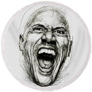 Dwayne The Rock Johnson Round Beach Towel