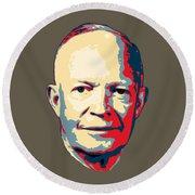 Dwight D. Eisenhower Pop Art Round Beach Towel