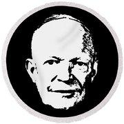 Dwight D. Eisenhower White On Black Pop Art Round Beach Towel