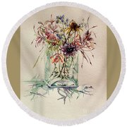 Dying Meadow Round Beach Towel